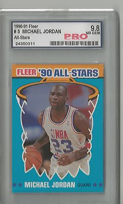 Michael Jordan Fleer 1990-91 #5 All-Stars NR GEM 9.8 PRO