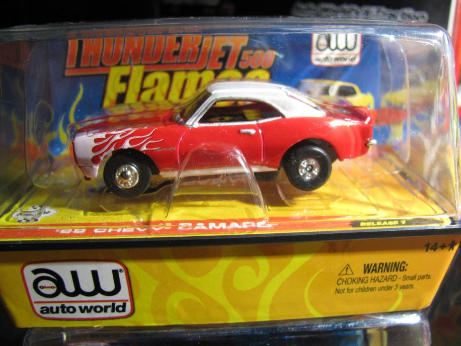 AW AFX TOMY REL 7 T-JET W/ FLAMES RED 1969 CHEVY CAMARO NEW HO SLOT CAR IN CUBE