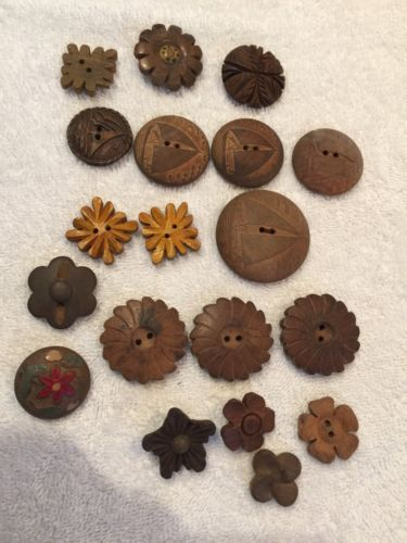 Vintage Antique Wood Buttons ~ Mixed Lot   sailboats  flowers Wooden