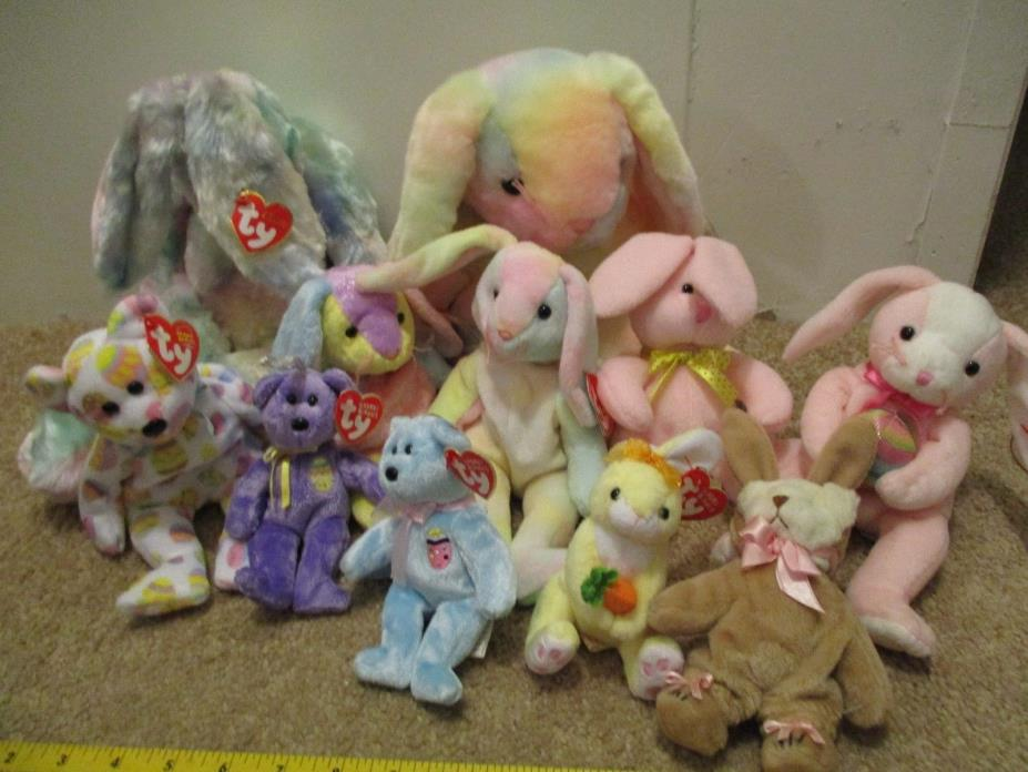 Lot of  11 TY CLASSIC Buddy Babies Basket Plush Bunny and Bear Easter Collection