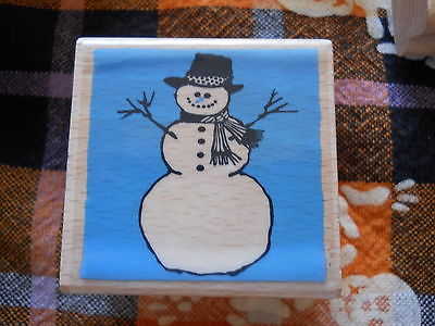 Rubber Stamp Christmas Snowman Classic Frosty Stick Arms Scarf Smiling Coal Hat