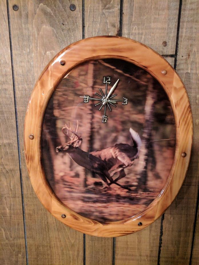 Wood Deer Wall Clock
