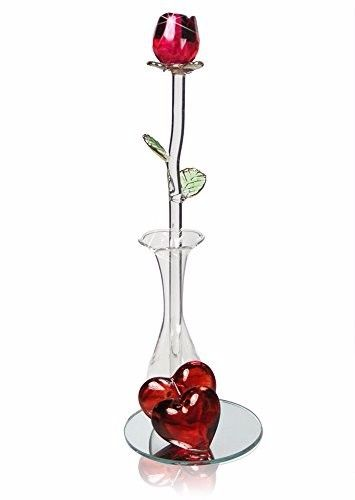 Roses - Crystal Red Rose in Glass Vase - Red Decorative Hearts on a Mirrored Bas