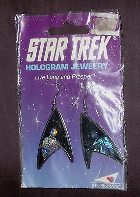 Captain Kirk, Star Trek hologram earrings in the package 1992 LOOK!!!  NIB