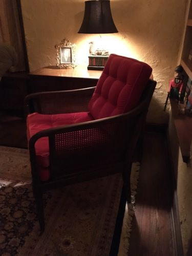 Hickory Chair Faux Bamboo Cane English Regency Red Velvet Arm Chair