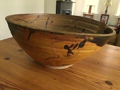 Antique Japanese Tokoname Pot Bowl LARGE  Water Jar Stoneware Drip Beautiful