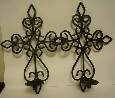 Wrought Iron Wall Decor Cross Candle Holder Set
