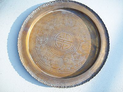 Large Antique Persian Copper Tray Ornate Design w/ Brass Trim Round 28