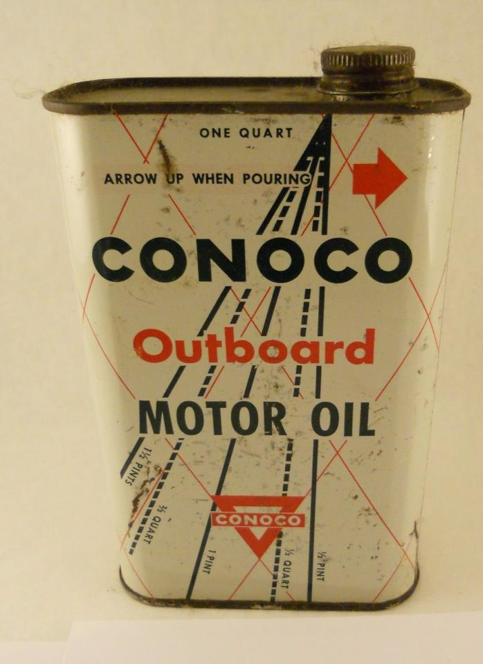 Vintage CONOCO Outboard Motor Oil Can  Quart Metal Can
