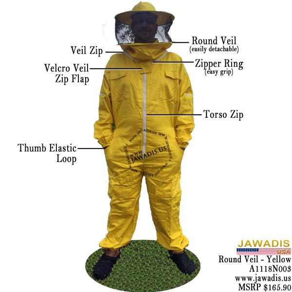 3XL Yellow Sheriff Beekeeping Suit Round Veil Pest Control BeeKeepers Bee Suit