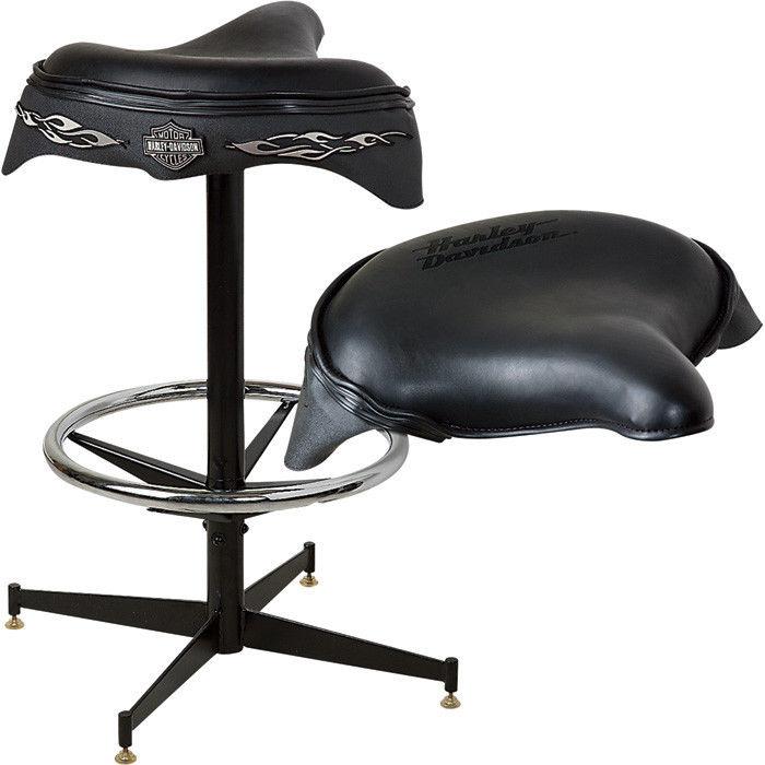 Harley-Davidson Bar & Shield Solo Saddle Seat Black Leather Bar Stool