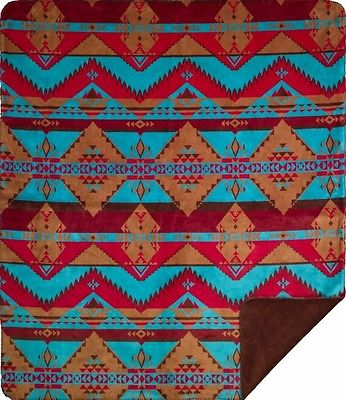 Denali Native Trail Microplush Rustic Southwestern Throw Blanket 444 Made in USA