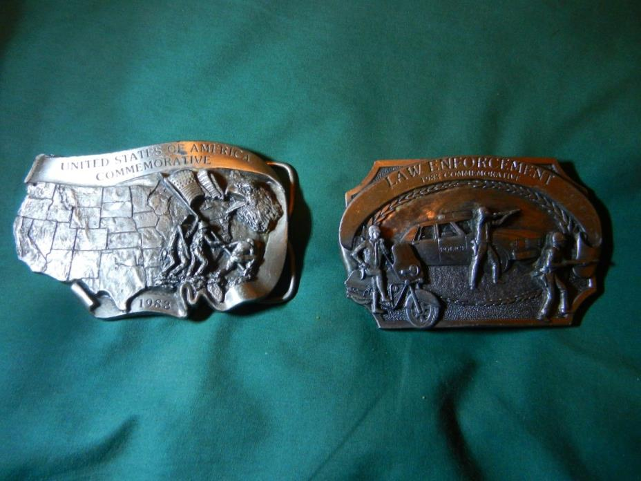 Law Enforcement and U.S. of A. Commemorative Belt Buckles