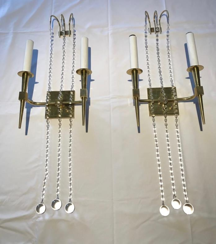 Pair TOMMI PARZINGER Brass and Crystal Sconces
