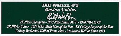 Bill Walton Nameplate Boston Celtics Autograph Photo Basketball Jersey