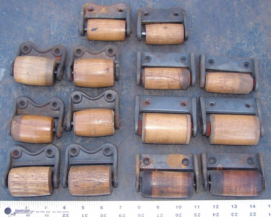 14 Cast Iron and Wood Pulley Rollers Pump Organ Bellows Salvage Repurpose Crafts