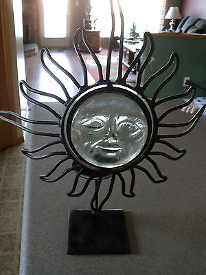 Decorative WROUGHT Iron Sun Face With Glass Face Candle Holder