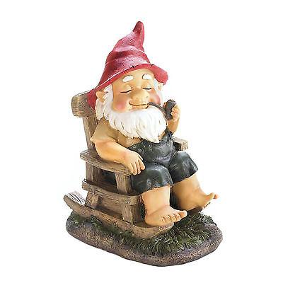 GNOMES: Grandpa Gnome on a Rocking Chair Lawn Garden Statue Elf NEW