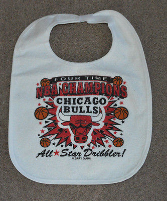 Vtg Chicago Bulls 4X NBA Champions Infant Baby Bib Retro Jersey