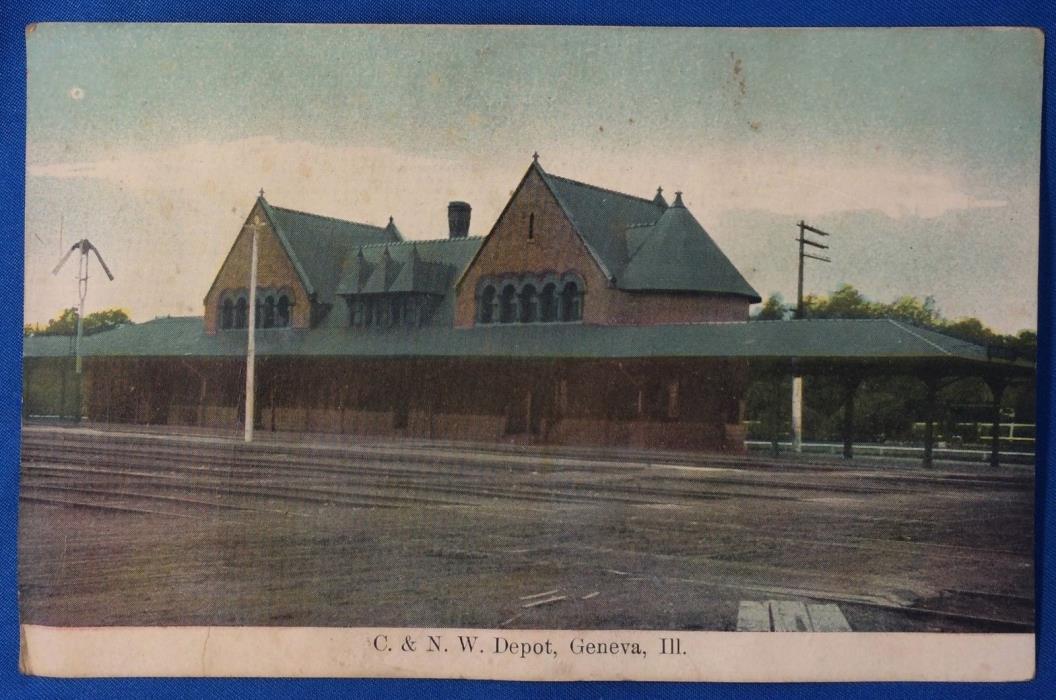 Original Vintage Chicago & North Western RAILROAD DEPOT Geneva Ill Postcard