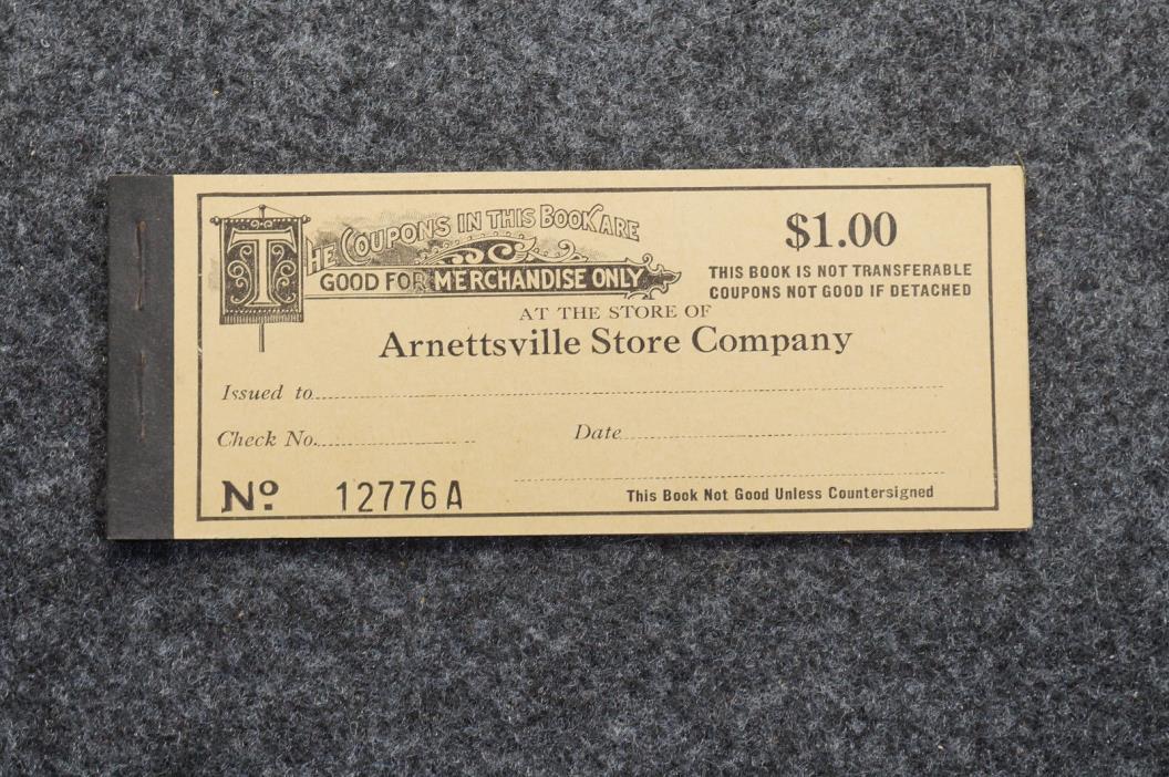 Arnettsville Mining Store Company Coal Company $1.00 Coupon Book