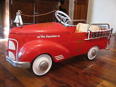Antique 1930s Original Garton Ford Fire Truck Pedal Car