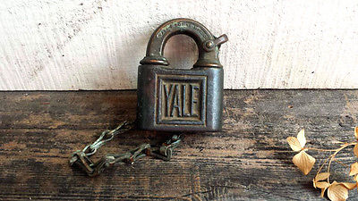 Antique Yale Pad Lock, Vintage Lock with Chain. Early Heavy Pad Lock. No Key