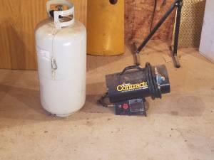 LP heater and 40 pound tank. (brodhead)