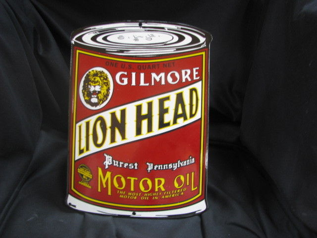 GILMORE LION HEAD MOTOR OIL PORCELAIN SIGN