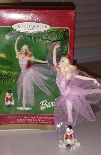 2001 Hallmark Barbie Sugar Plum Princess & Nutcracker Ornaments with Box