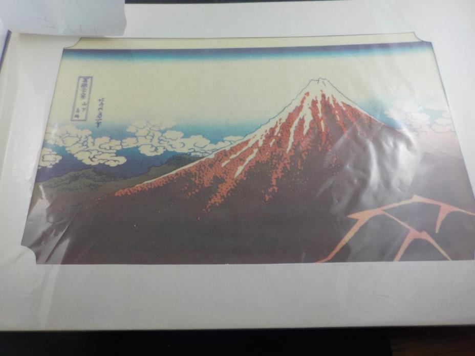 Antique 19C HOKUSAI JAPANESE WOODBLOCK PRINT SHOWER BELOW SUMMIT MT FUJI ORIG!