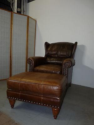 Bob Timberlake Traditional Leather Wingback Arm Chair & Ottoman Footstool 012502