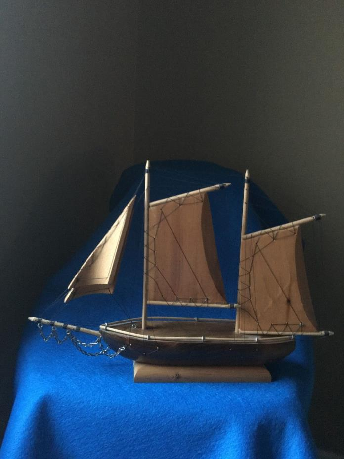 Vintage Wooden Sailboat on display stand,12