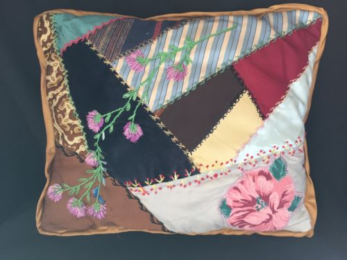 Crazy Quilt Pillow Handmade Vintage Fabric Embroidery Velvet Silk Floral