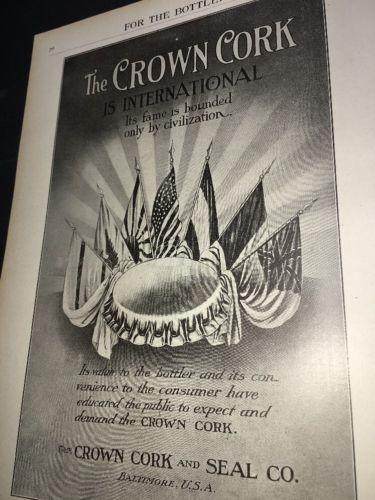 Crown Cork Seal Beer Bottle Cap Ad 1908 International Flags Graphic Art