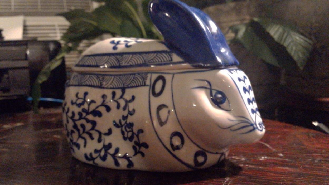 ANTIQUE Vintage Porcelain RABBIT FIGURINE - Rabbit TRINKET DISH - URN - Humidor