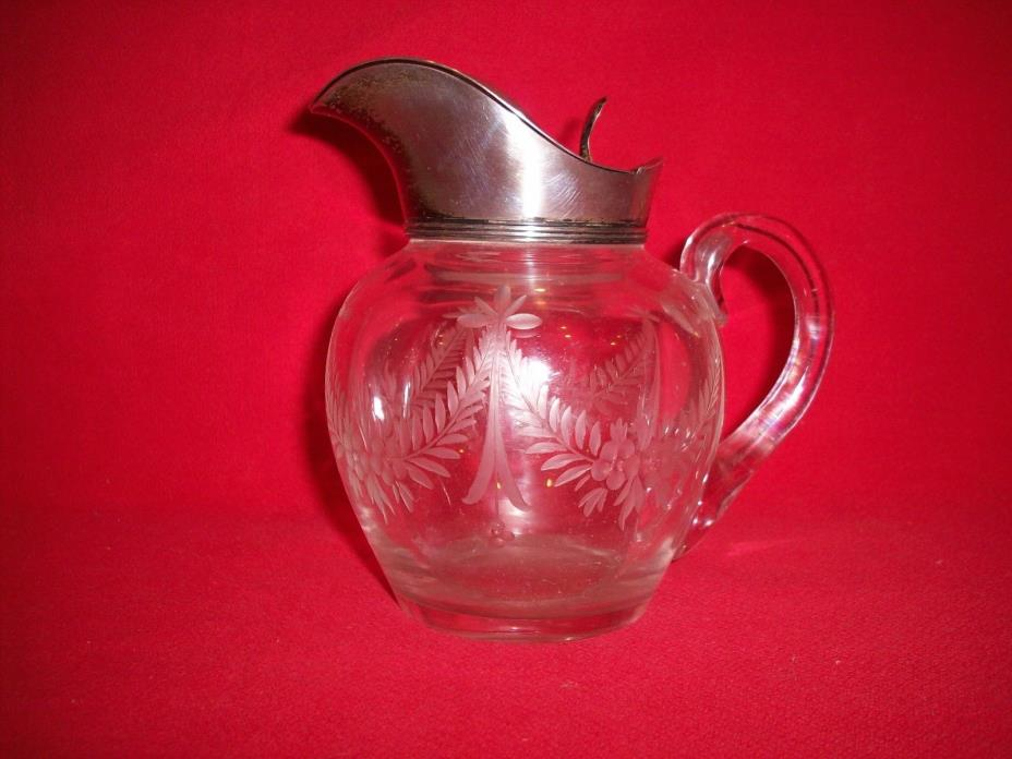 EARLY STERLING ETCHED GLASS SYRUP PITCHER