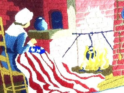 American Flag Betsy Ross Completed Crewel Embroidery 21