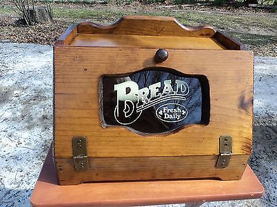 WOODEN BREAD BOX WITH GLASS DOOR