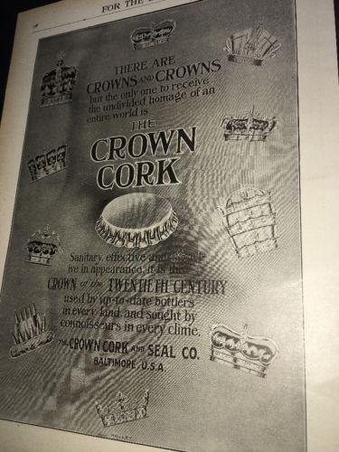Crown Cork Seal Beer Bottle Cap Ad 1908 Kings Crowns  Graphic Art