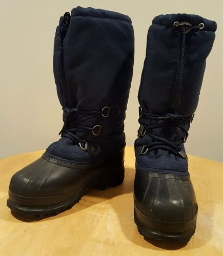 Sorel Womens Navy Blue Rubber Nylon Felt Lined Winter Snow Boots Shoes Size 7
