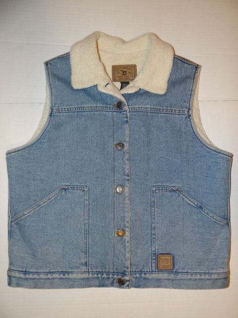 RALPH LAUREN JEANS CO SHERPA BLUE DENIM VEST LARGE WOMEN'S