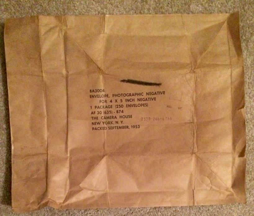 1953 US Air Force AF Military Intelligence Negative Envelope 14.5 x 12 Unused