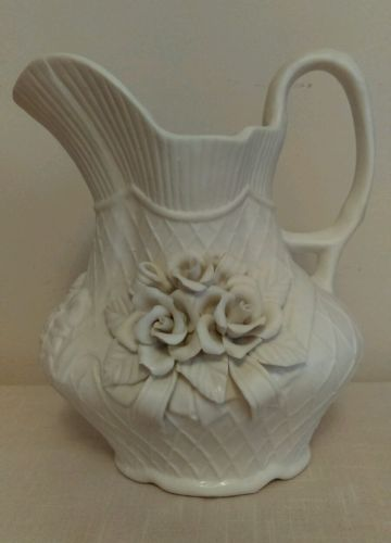 BEAUTIFUL LARGE ROSE ADORNED OFF-WHITE WATER/VASE PITCHER