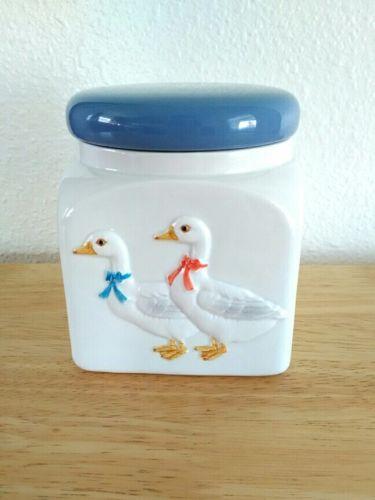 Otagiri Small Blue and White Porcelain Ducks Design Kitchen Canister Japan