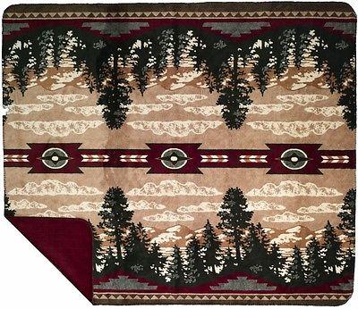 Denali Autumn Point Microplush Rustic Southwestern Throw Blanket 216 Made in USA