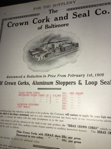Crown Cork Seal Beer Bottle Cap Ad 1908 Price List Corks Stoppers Seals