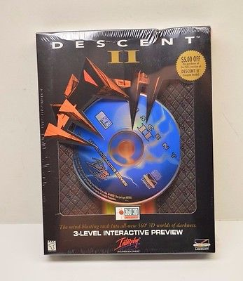 Descent II 3 Level Interactive Preview PC Game Factory Sealed!!!!