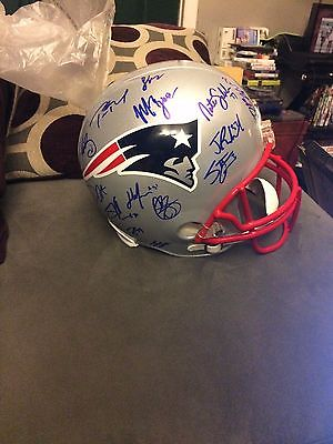 2016 New England Patriots Full Sized Team Signed Helmet 26 Signatures With COA