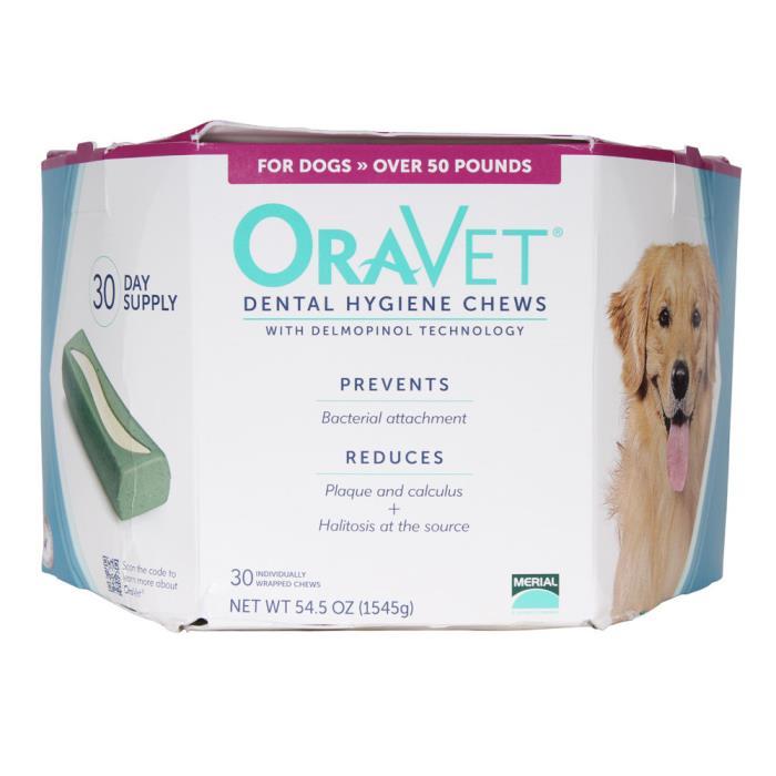 ORAVET  Dental Hygiene Chews for Dogs over 50 lb, 30 ct